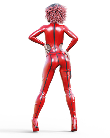 3D beautiful tall woman in leather red bodysuit. Latex tight fitting suit. Gun in holster. Girl studio photography. High heel. Conceptual fashion art. Seductive candid pose. Realistic illustration. Banque d'images