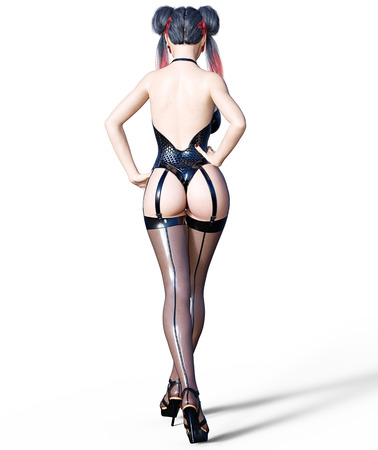3D Beautiful sexy brunette girl black latex corset stockings.Minimalist extravagant clothes future.Woman studio photography.High heel.Conceptual fashion art.Seductive candid pose.Render illustration