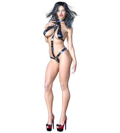 Tall sexy woman in minimalist extravagant sexy leather lingerie. Thongs bra strap and panties. Conceptual fashion art. Seductive candid pose. Realistic 3D render illustration. Studio, high key. Stock Photo