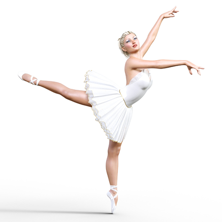 Dancing ballerina 3D. White ballet tutu. Blonde girl with blue eyes. Ballet dancer. Studio photography. High key. Conceptual fashion art. Render realistic illustration. White background. Stock Photo