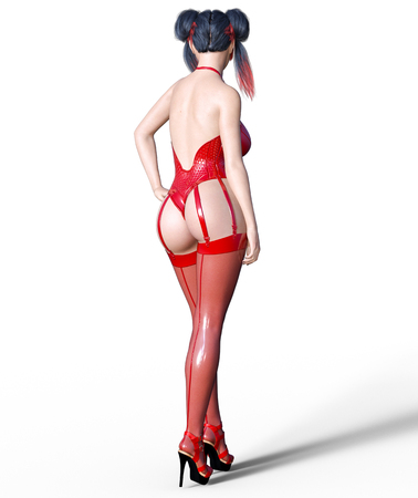 3D Beautiful sexy brunette girl red latex corset stockings.Minimalist extravagant clothes future.Woman studio photography.High heel.Conceptual fashion art.Seductive candid pose.Render illustration