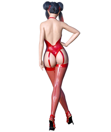 3D Beautiful sexy brunette girl red latex corset stockings.Minimalist extravagant clothes future.Woman studio photography.High heel.Conceptual fashion art.Seductive candid pose.Render illustration