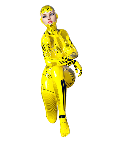 Dancing robot woman. Yellow metal droid with womans face. Artificial Intelligence. Conceptual fashion art. Realistic 3D render illustration. Studio, isolate, high key.
