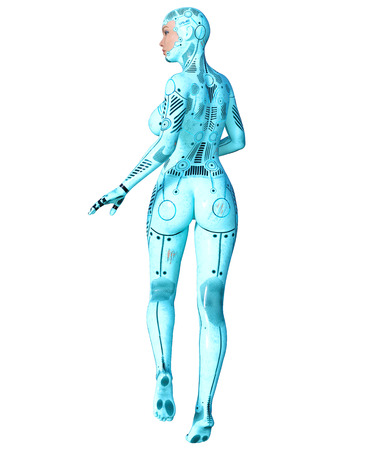 Dancing robot woman. Blue metal droid with womans face. Artificial Intelligence. Conceptual fashion art. Realistic 3D render illustration. Studio, isolate, high key.
