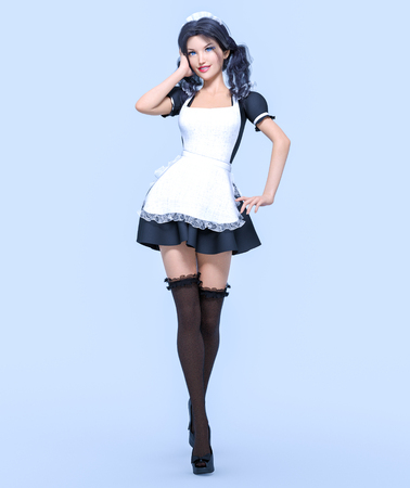 3D beautiful young attractive girl maid in black dress, stockings and white apron. Woman in uniform. Woman studio photography. High heel. Conceptual fashion art. Seductive candid pose. Realistic render illustration. Isolate. Stock Photo