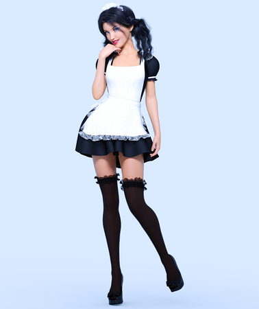 3D beautiful young attractive girl maid in black dress, stockings and white apron. Woman in uniform. Woman studio photography. High heel. Conceptual fashion art. Seductive candid pose. Realistic render illustration. Isolate. Stockfoto