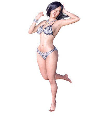 3D beautiful dark haired woman swimsuit bikini. Summer rest. Conceptual fashion art. Seductive candid pose. Realistic render illustration. Isolate