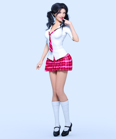 3D beautiful young attractive girl school uniform.White blouse, red short skirt cage.Woman studio photography. High heel. Conceptual fashion art. Seductive candid pose. Realistic render illustration Standard-Bild - 99692929