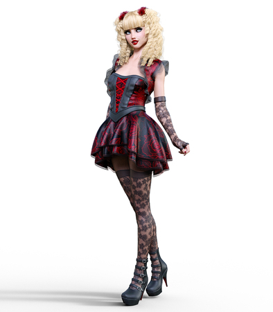 Young beautiful girl with a doll face posing photo shoot. Short dark red dress, stockings, shoes. Long blonde hair. Bright goth make up. Conceptual fashion art. Realistic 3D render illustration.