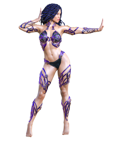 Warrior amazon woman. Long dark hair. Muscular athletic body. Girl standing candid provocative pose. Conceptual fashion art. Realistic 3D rendering isolate illustration. Hi key.