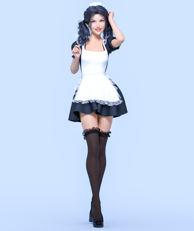 3D beautiful young attractive girl maid black dress, stockings and white apron.Woman uniform.Woman studio.High heel.Conceptual fashion art.Seductive candid pose.Realistic render