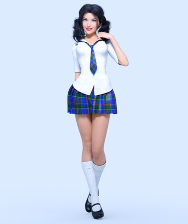 3D beautiful young attractive girl school uniform.White blouse, blue short skirt cage.Woman studio photography. High heel. Conceptual fashion art. Seductive candid pose. Realistic render illustration Stock Photo