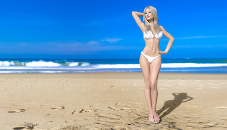 3D beautiful blonde woman. Summer rest. Blue ocean background. Sunny day. Conceptual fashion art. Seductive candid pose. Realistic render illustration.