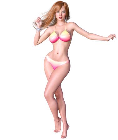 3D beautiful blonde woman swimsuit bikini. Summer rest. Conceptual fashion art. Seductive candid pose. Realistic render illustration. Isolate Stock Photo