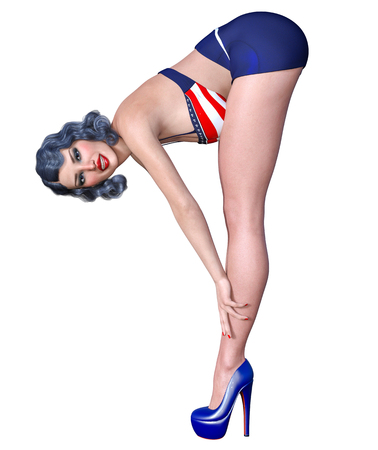 3D beautiful young attractive pin up girl vintage.Shorts and bra.Woman studio.High heel.