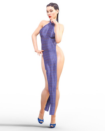 3D beautiful young woman with an extravagant sexy loin dress.Woman studio photography.High heel.