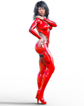 3D beautiful tall woman wearing red bodysuit.Latex tight fitting suit.Gun in holster.