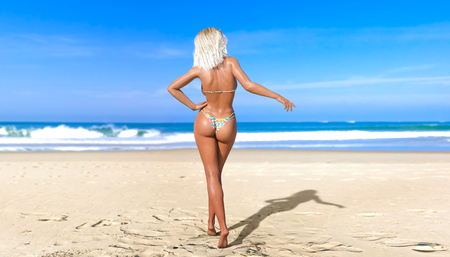 3D beautiful blonde woman swimsuit. Summer rest. Blue ocean background. Sunny day. Conceptual fashion art. Seductive candid pose. Realistic render illustration. Stock Photo