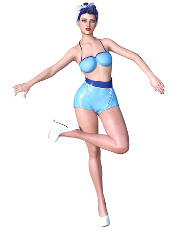 3D beautiful young attractive pin up girl vintage.Shorts and bra.Woman studio.High heel.Conceptual fashion art.Seductive candid pose.Realistic render.Summer collection clothes