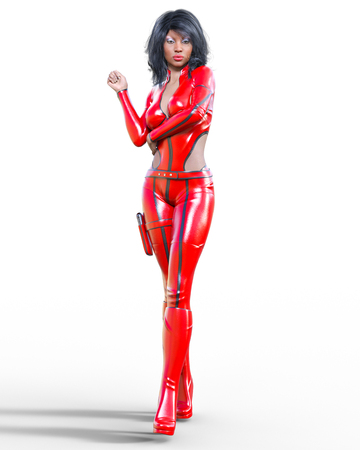 3D beautiful tall woman wearing red bodysuit.Latex tight fitting suit.Gun in holster.Girl studio photography.High heel.Conceptual fashion art.Seductive candid pose.Realistic render illustration.
