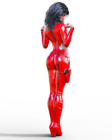 Bella donna alta 3D che indossa tuta rossa Vestito aderente in lattice Pistola in custodia per armi Fotografia di studio della ragazza Tacco alto Arte di modo concettuale Posa candida seducente Illustrazione realistica di rendering.
