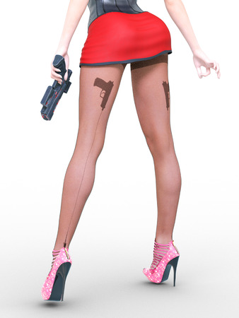 Woman legs dark nylon tights. Guns in hands. Red short skirt. Sexy slim female legs in dark pantyhose. Seductive pose. Conceptual fashion art. 3D render illustration.