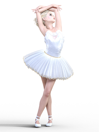 Dancing ballerina 3D. White ballet tutu. Blonde girl with blue eyes. Ballet dancer. Studio photography. High key. Conceptual fashion art. Render realistic illustration. White background. Stock Photo