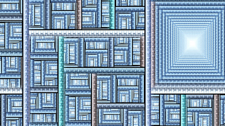 Pattern rectangles. Protective aliens wall. Fractal abstract texture. Digital artwork graphic astrology magic