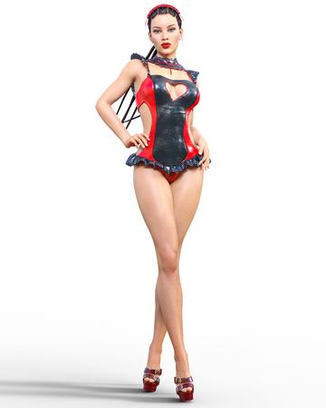 3D Beautiful sexy brunette girl red black latex corset.Minimalist extravagant clothes future.Woman studio photography.High heel.Conceptual fashion art.Burlesque show.Render illustration.Maid uniform Imagens - 108672688