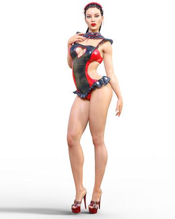 3D Beautiful sexy brunette girl red black latex corset.Minimalist extravagant clothes future.Woman studio photography.High heel.Conceptual fashion art.Burlesque show.Render illustration.Maid uniform