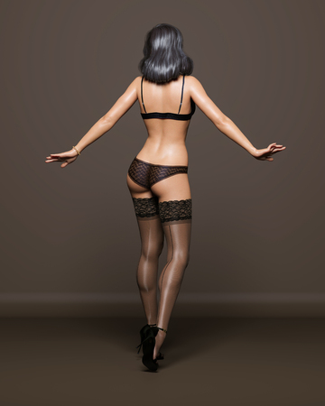 3D Beautiful brunette girl black lingerie and stockings dark background.Woman studio photography.High heel.Conceptual fashion art.Seductive candid pose.Render illustration.Collection summer clothes.Back view Stock fotó