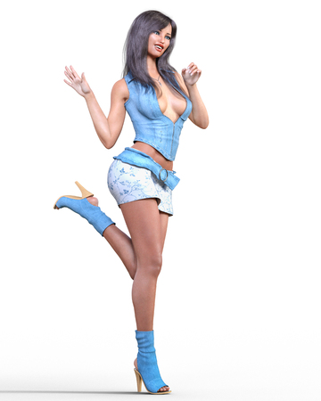 Beautiful woman blue and white short denim skirt and blouse.Brunette long hair.Woman studio photography.High heel.Conceptual fashion art.Seductive candid pose.Render illustration.