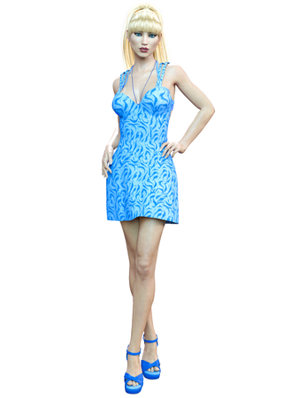 Beautiful woman in blue short dress.Blonde long hair.Woman studio photography.High heel.Conceptual fashion art.Seductive candid pose.Render illustration.