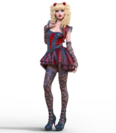 Young beautiful girl with doll face posing photo shoot. Short dark red dress, stockings, shoes. Long blonde hair. Bright goth make up. Conceptual fashion art. Realistic 3D render illustration.