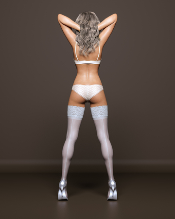 3D Beautiful blonde girl white lingerie and stockings dark background.Woman studio photography.High heel.Conceptual fashion art.Seductive candid pose.Render illustration.Summer clothes.Back view