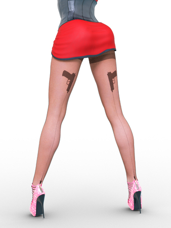 Woman detective.Dark nylon tights with guns, bullets and trajectory line.Short red skirt corset.Female domination.Sexy slim female legs dark pantyhose.Seductive pose.Conceptual fashion art.3D render