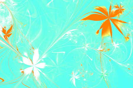 Flower Symphony.Abstract fractal shapes. Fantasy colorful chaotic fractal texture. 3D rendering illustration pattern. 版權商用圖片