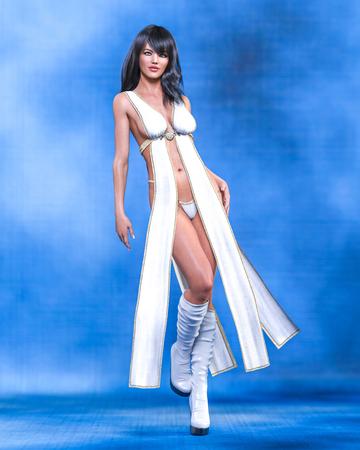 Tall sexy woman in minimalist extravagant sexy dress. Conceptual fashion art. Seductive candid pose. Realistic 3D render illustration. Studio, high key.