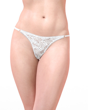 Girl in sexy panty. Transparent panties underwear. Extravagant fashion art. Woman standing candid provocative sexy pose. Photorealistic 3D rendering isolate illustration. Studio. Stock Photo
