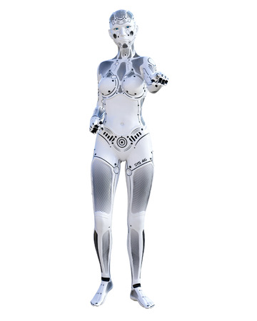 Robot woman. Metal droid. Artificial Intelligence. Conceptual fashion art. Realistic 3D render illustration. Studio, isolate, high key.