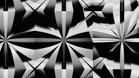 3D surreal Black and White illustration. Sacred geometry. Mysterious psychedelic relaxation pattern. Fractal abstract texture. Digital artwork graphic astrology magic