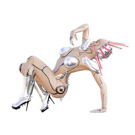 Cyborg droid robot woman futuristic metallic bikini. Extravagant fashion art. Girl standing candid pose. Photorealistic 3D rendering isolate illustration. Studio photography. Reklamní fotografie