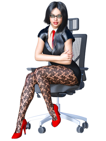 Long-haired sexy brunette secretary in black pantyhose. Beautiful girl with glasses sitting office chair sexually explicit pose. Realistic 3D rendering isolate illustration.