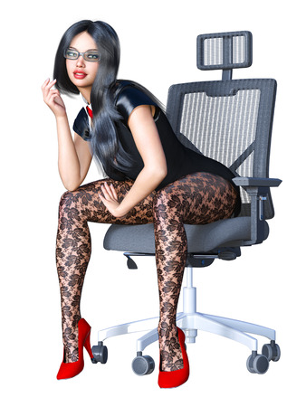 Long-haired brunette secretary in black pantyhose. Beautiful girl with glasses sitting office chair sexually explicit pose. Realistic 3D rendering isolate illustration.