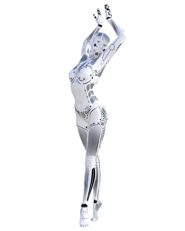 Dance robot woman. Metal droid. Artificial Intelligence. Conceptual fashion art. Realistic 3D render illustration. Studio, isolate, high key.