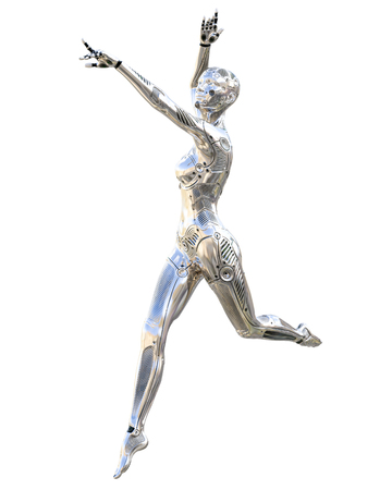 Dance robot woman. Metal shiny silver droid. Artificial Intelligence. Conceptual fashion art. Realistic 3D render illustration. Studio, isolate, high key.