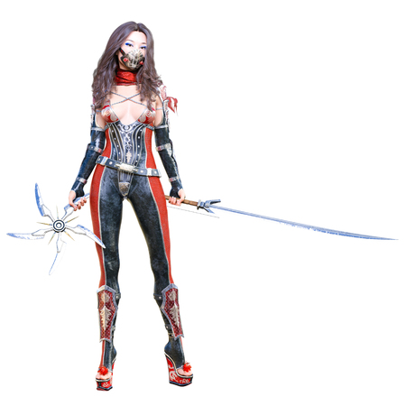 3D japanese assassin woman in mask and sword. llustration. Conceptual fashion art. Seductive candid pose. isolated.