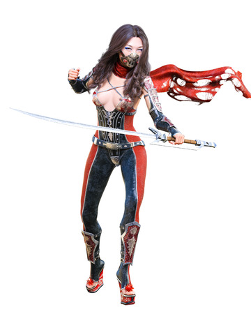 3D japanese assassin woman in mask and sword. llustration. Conceptual fashion art. Seductive candid pose. isolated. Stock Photo