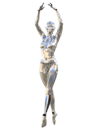 Dance robot woman. Metal shiny silver droid. Artificial Intelligence. Conceptual fashion art. Realistic 3D render illustration. Studio, isolate, high key. Stock Photo