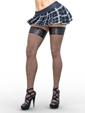 Beautiful long slender sexy female legs short skirt cage and stockings.Beautiful underwear collection.Provocative liberated pose.3D rendering.Isolate.Conceptual fashion art.